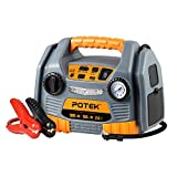 POTEK Jump Starter Source with 150 PSI Tire Inflator/Air Compressor,900 Peak Amps Power Station with 2.4A USB Port