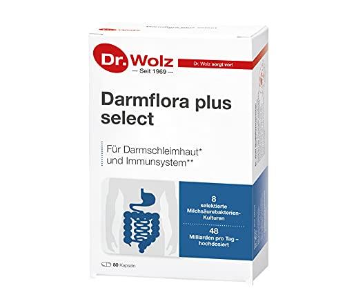 Darmflora plus select Dr. Wolz   hochdosierte Bakterienkulturen 48 Mrd/Tag   Vitamin B6 und B12, unterstützt gesunde Schleimhäute   8 Milchsäurebakterien   Vegan   80 Kapseln