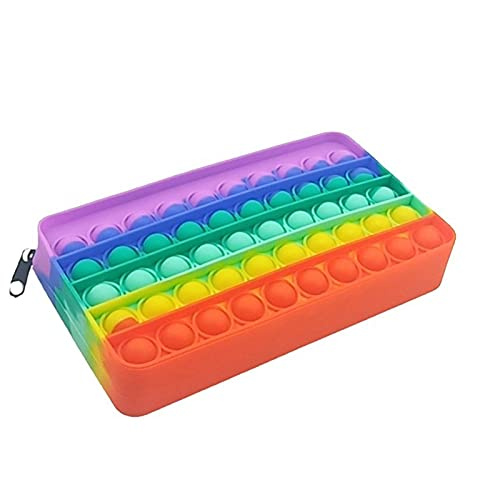 AKlamater - Astuccio per matite con bolle push pop, in silicone interattivo per alleviare lo stress, per giochi sensoriali, regalo per uomini e donne (multicolore)