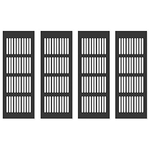 Griglia di Ventilazione Alluminio Griglia di Ventilazione Rettangolare Griglia Areazione Griglia d'Aria in Alluminio per Armadio Scarpe Lavello Cucina Armadio Vetrina Porta Nere 80x200mm 4 Pezzi