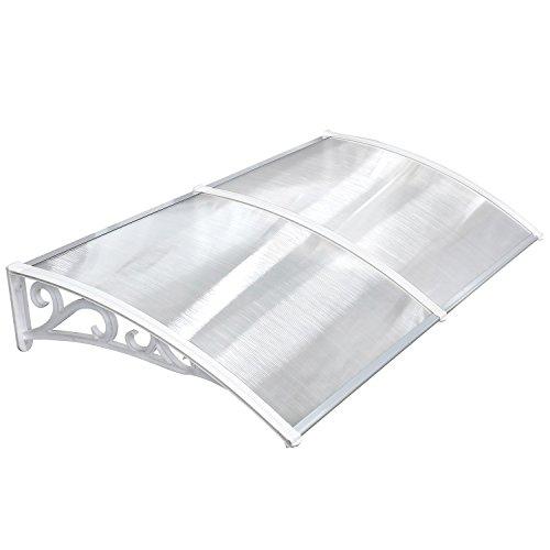 MVPOWER Marquesina para Puertas y Ventanas Tejadillo de Protección Toldo Cubierta de Policarbonato en Jardín al Aire Libre Dosel de Techo (190 * 98.5cm, blanco)