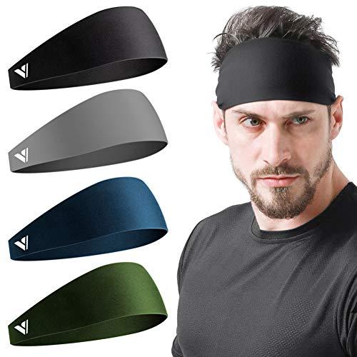 Vgogfly Sweat Headbands for Men Sweatbands for Mens Headband Running Sweat Bands Headbands Men Workout Sports Hairband for Men Thin Fitness Gym Yoga Men Headband Black Navy Grey ArmyGreen