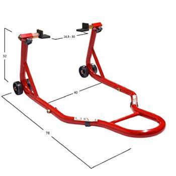 Cruizer - Caballete trasero rojo con enganches a placas para moto con barras de refuerzo laterales ajustables y 4 ruedas debajo.