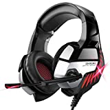 Gaming Headset for PS4, Xbox One, PC Headphones with Microphone LED Light Mic for Nintendo Switch Playstation Computer, K5 pro (Black&Red)