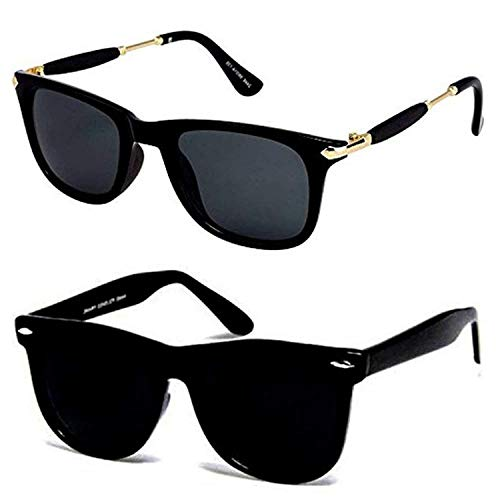 Synbus UV Protection Black Lens and Frame Unisex Square Sunglasses - Combo of 2 (Black )