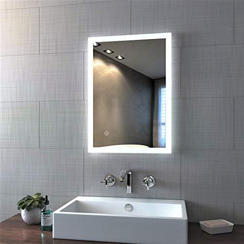 Bath-mann LED Badspiegel 50x70cm mit Beleuchtung kaltweiß Badezimmerspiegel Spiegel mit Touch Lichtschalter, Beschlagfrei, Wandspiegel Horizontal oder Vertikal Lichtspiegel 6400K