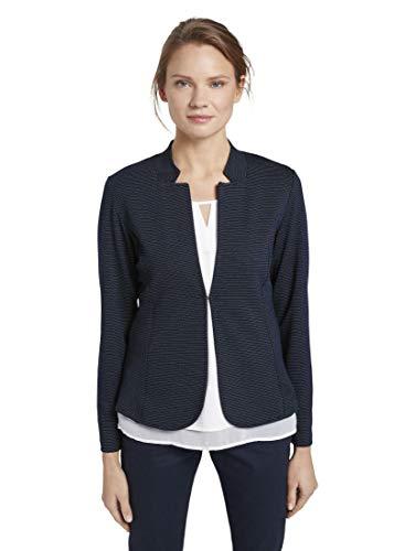 TOM TAILOR Damen Blazer & Sakko strukturierter Blazer Navy Dotted Fabric,M,21949,6000