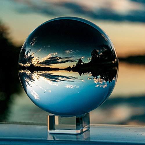 IZSUZEE K9 Kristallkugel Schneekugel Foto, 10cm Klarer Glaskugel Lensball Wahrsagerkugel mit Glas Ständer, Fotokugel für Büro Dekoration Fotografie Kugel Geburtstags Weihnachten Geschenk, MEHRWEG