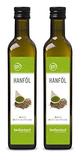 BIO Hanföl 1000ml I 100% rein, nativ, kaltgepresst, laborgeprüft, ohne Zusätze, enthält Omega 3 - 6 -9 Fettsäuren I von bioKontor