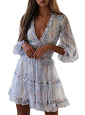 Sexy and sweet style, soft material, light and comfortable to wear. Features: Deep V Neck, Backless, Ruffles Trim, Floral Print, Long Sleeve, Pleated, Skater Swing Chiffon Dress. Deep v neck and backless design add charming to this sweet chiffon dres...