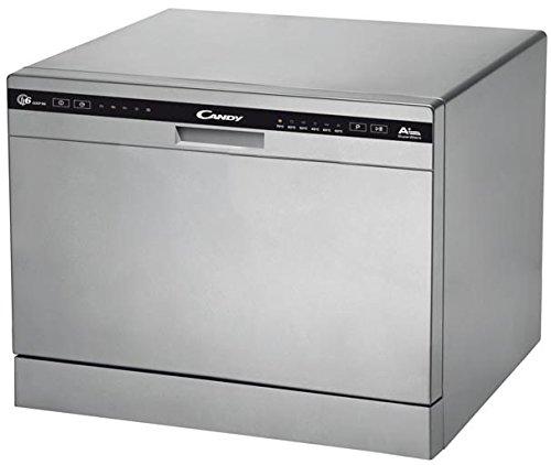 Candy CDCP 6/E-S Mini Lavastoviglie da Tavolo, 6 Coperti, Libera Installazione, 55x50x43 cm, Argento, Classe A+