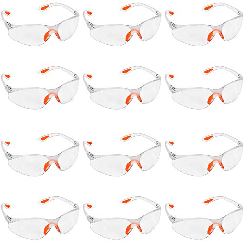 Kurtzy 12-er Pack Schutzbrillen Transparent mit Gummieinsatz an Nase und Ohren für sicheren Schutz – Augenschutzbrille Sicherheitsbrille Laborbrille Kratzfeste Linsen – PSA Arbeitsschutzbrillen
