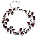 Silvershake 13.2ct. Natural Garnet 925 Sterling Silver Leaf 6.75 to 8.25 Inch Adjustable Bracelet