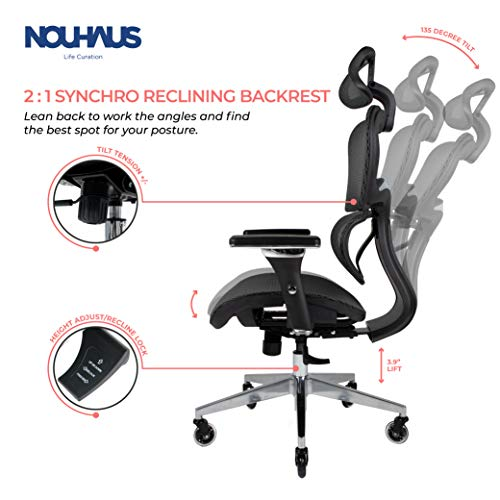 Product Image 3: NOUHAUS Ergo3D Ergonomic Office Chair - Rolling Desk Chair with 3D Adjustable Armrest, 3D Lumbar Support and Blade Wheels - Mesh <a href=