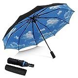 DORRISO Vogue Automático Plegable Paraguas Mujer Hombres Portátil Viajar Paraguas Antiviento Impermeable Unisexo Paraguas Azul B