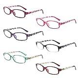 IVNUOYI 6 Pack Reading Glasses Blue Light Blocking,Fashion Ladies Spring Hinge Readers with Pattern Print,Anti Glare UV Eyeglasses for Women 2.5