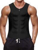 Men Waist Trainer Vest for Weightloss Hot Neoprene Corset Body Shaper Zipper Sauna Tank Top Workout Shirt (2XL, Black Neoprene Slimming Vest)