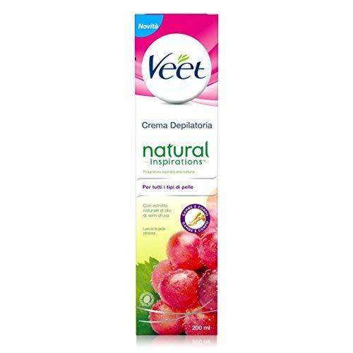 Veet Crema Depilatoria Natural Inspirations Olio di Semi d'Uva, Confezione da 200 ml