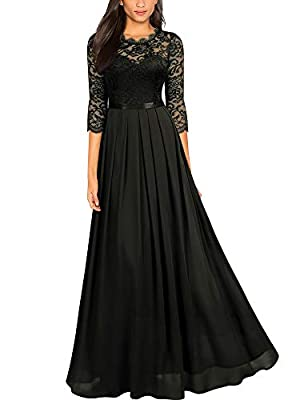 SIZE RECOMMEND: US 4/6(Small), US 8/10(Medium), US 12/14(Large), US 16(X-Large), US 18(XX-Large) Suit for Wedding Party, Evening Club and Outdoor Vintage Lace Pattern, Sleeveless, See-Through Design,Contrast Different Fabric. 2/3 Sleeve, Long Style D...