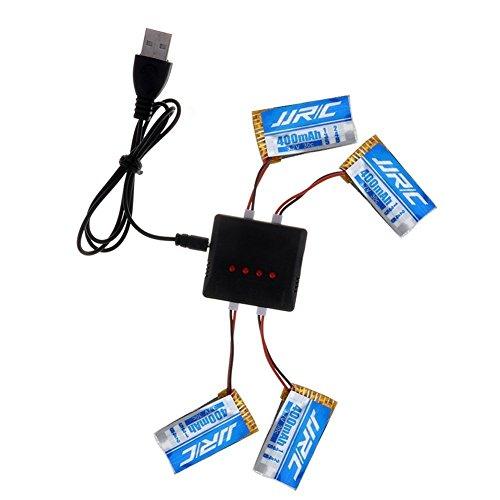 JJRC YUNIQUE Italia 4 Pezzi Batteria Li-Po Adatte per Droni H31 da 3.7 v 400mAh 30C + USB Caricatore...