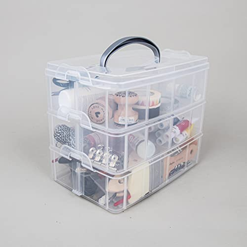 Image 3 - Rayher Boite de Rangement avec Poignée de Transport Boite de Rangement à 17 Compartiments, 23,1 x 15,6 x 18,5cm, Transparent
