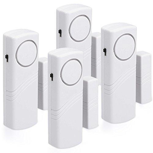 kwmobile allarme per porte e finestre - set da 4 dispositivi antifurto wireless sicurezza casa - sensore magnetico acustico con batterie incluse