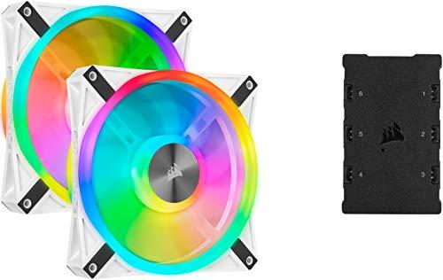 Corsair QL140 RGB Ventola con 68 LED RGB Regolabili, Fino a 1.250 Giri/Min, Silenziosa, Smorzatori in Antivibrazione, iCUE QL 140 mm, Confezione Doppia con Lighting Node CORE, Bianco/RGB