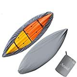 Anzid Waterproof Kayak Canoe Cover for Outdoor Storage, Canoe Accessories,Kayak Accessories Dust Cover UV Protection Sunblock Shield for Fishing Boat/Kayak/Canoe (Grey, 4.1~4.5m/13.4ft~14.7ft)