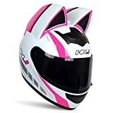Adult Personalized Cat Ear Motorcycle Helmet,Men and Women Cool Cat Locomotive Motorcycle Full Face Helmet,DOT/FMVSS-218 Certification Standard,Suitable for All Seasons,Pink White,M