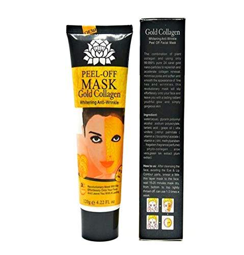24K Gold Facial Mask Collagen Peel-off with Skin Soft Brush Applicator, Whitening Anti-Wrinkle Lifting Firming Moisturizing Face Skin Care Masks 4.22 Fl.oz (gold60)