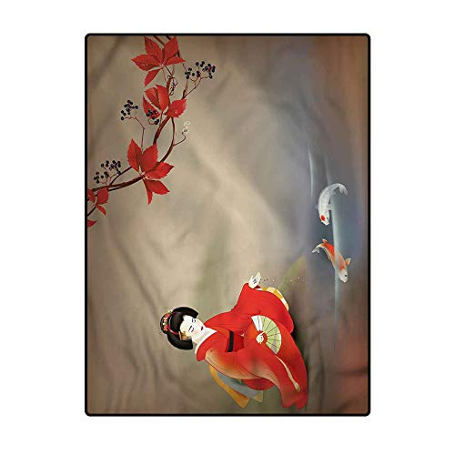 Koi Fish Modern Family Room Carpet Comfy Bedroom Home Decorate Floor Kids Playing Mat Geisha Woman Autumn Leaves 6.5 x 8 Ft