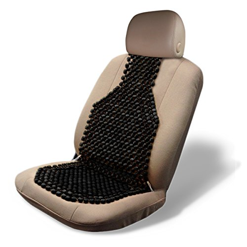 Zone Tech Wood Beaded Seat Cushion - Quality Black Premium Quality Car Massaging Double Strung Wood Beaded Seat Cushion for Stress Free All Day!