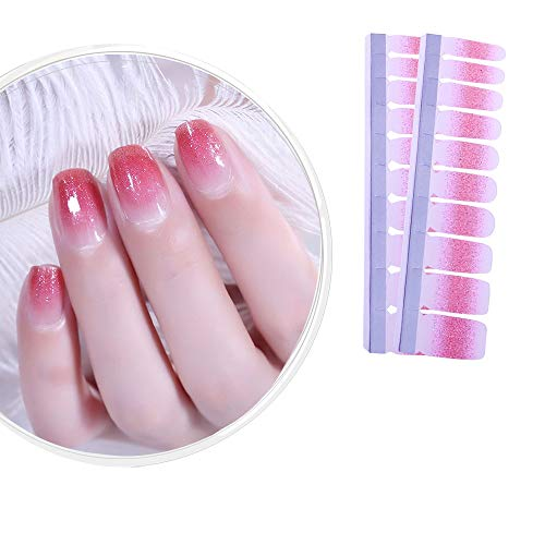 IBAOTTY 20pcs Nail Art Wraps Sticker Simple Nail Polish for Women Sticker Strips DIY Fullnail Polish Patch Strips for Halloween,Wedding, Party, Shopping, Travelling (20 pcs, Package 27) …