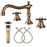 Bathroom Sink Faucet Widespread Double Cross Knobs Antique Brass 3 Hole Mixing Tap Deck Mount with Pop Up Drain