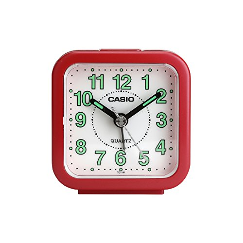 Casio Analog Table Clock (TQ-141-4DF, Red, White, 6.7 x 6.4 x 3.4 cm)