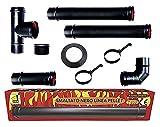 poêle à pellets tubes Kit 80 mm. en tube d'acier laqué noir résistant CE 600...