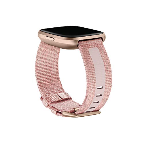 Fitbit Versa Family Accessory Band, Official Fitbit Product, Woven Reflective, Pink, Small
