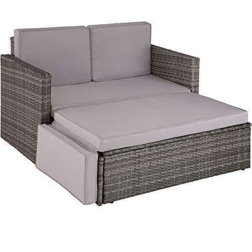 TecTake 800884 Divano Lounge in Rattan, Doppia Sdraio, Pouf con Cuscino, Elevato Comfort di Seduta, Arredamento da Giardino, Nuovo (Grigio)