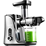 Juicer Machines, AMZCHEF Slow Masticating Juicer Extractor, Cold Press Juicer with Two Speed Modes, 2 Travel bottles(500ML), LED display, Easy to Clean Brush & Quiet Motor for Vegetables&Fruits,Gray