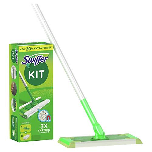 Swiffer Starter Kit Scopa con 1 Manico + 8 Panni di Ricambio, per Catturare e Intrappolare la...