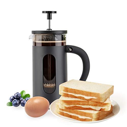 French Press Kaffee-/Teebereiter, groß, 1000 ml, mit 4-stufigem Filtersystem, Borosilikatglas, langlebig, Edelstahl, verdickt, hitzebeständig