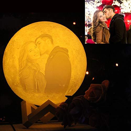 NSL Personalisierte Mondlampe 20cm 16Farben Personalisiertes Mondlicht Individuelle Mondlampe mit...
