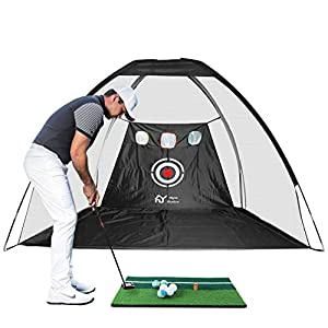 UPGRADE 2 IN 1 HITTING AND CHIPPING TARGET: Add on feature for golfers to practice swing, hitting and chipping at the same time, NOT DRIVING. We provided golf net with golf mat and 6pcs golf balls for your convenient practice. DURABLE & SOLID PRACTIC...