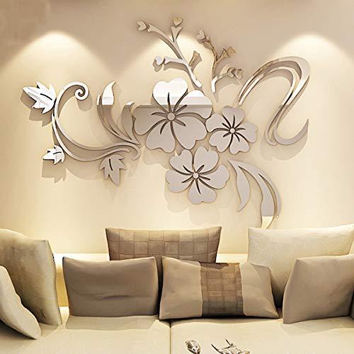 Alicemall - 12 adesivi da parete 3D a forma di farfalla, decorazione fai da te per casa e stanze, Acrilico, Silver, 100...