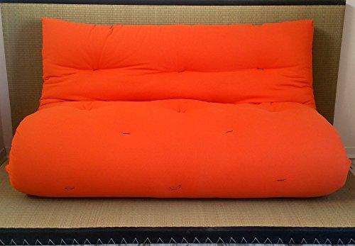 Divano Letto futon Double Face Base Tatami Colori Rosso/Arancio Misura futon 120 x 200 cm