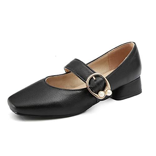 gracosy Merceditas para Mujer Primavera Tacón Bajo Mary Jane Slip On Sintético Cuero Zapatos Cómodo Mocasines Zapatillas de Boda Transpirables Retro
