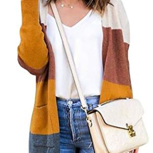 ECOWISH Womens Cardigan Color Block Striped Draped Kimono Cardigans Long Sleeve Open Front Casual Knit Sweaters Coat… 27