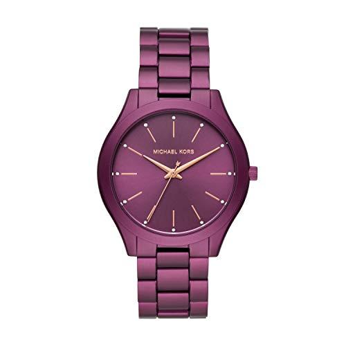 Michael Kors Women's Slim Runway Quartz Watch with Metal Strap, Purple, 20 (Model: MK4507)