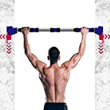 Pull Up Bar for Doorway Chin Up Bar No Screws Home Pullup Bar with Safety Locking Catch Portable Stainless Steel Upper Body Workout Bar for Home Gym Exercise Adjustable 70-90cm/27~35' Horizontal Bar