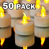 YIWER Tea Lights LED Tea Light Candles 100 Hours Pack of 50 Realistic Flickering Bulb Battery Operated Tea Lights for Seasonal Festival Celebration Electric Fake Candle in Warm Yellow
